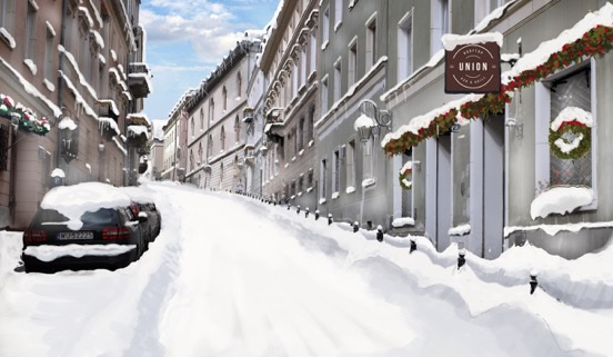 artificial ice film scenery winter look in town warsav synthetic panels snow rent
