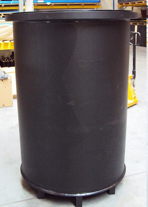 Zbiornik okrągły pionowy PE 10 mm ścianka, dno, wsporniki do wózka widłowego paleciaka - zbiornik do stosowania z żywnością, do kiszenia