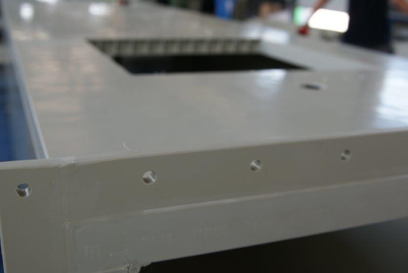 panelowa budowa zbiornika kanału sztywnego wentylacyjnego chemoodpornego