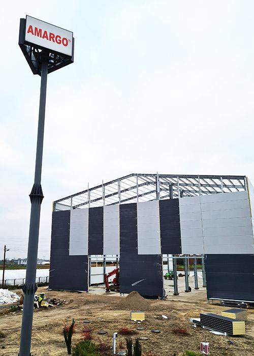trwa budowa hali produkcyjnej 2300 m2 wysokość 20m Amargo zbiorniki bezciśnieniowe chemoodporne na wodę z tworzyw sztucznych i kompozytów