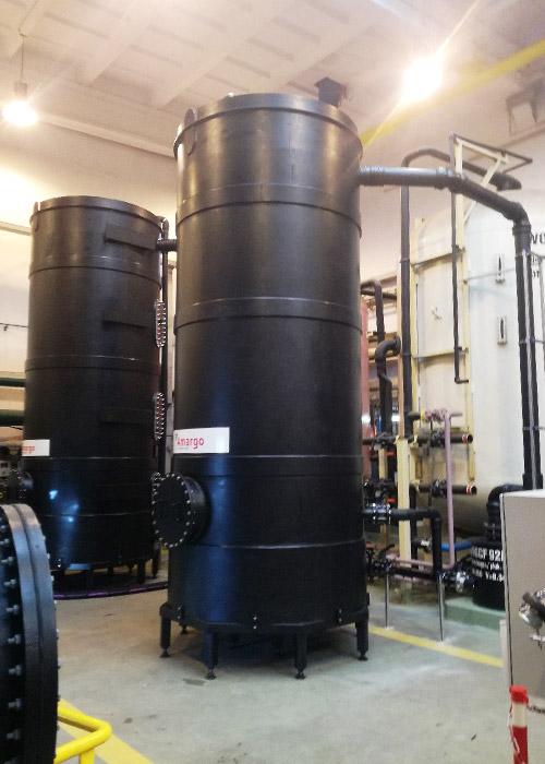 zbiorniki bezciśnieniowe do odpylania masy kationitowej słabokwaśnej i anionitowej mocnozasadowej
